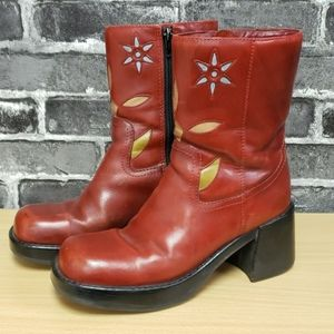 Diba Cowgirl Red Leather Heeled Boots Size 8.5M